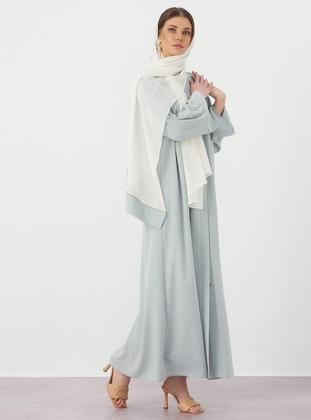 Mint - Unlined - V neck Collar - Crepe - Abaya