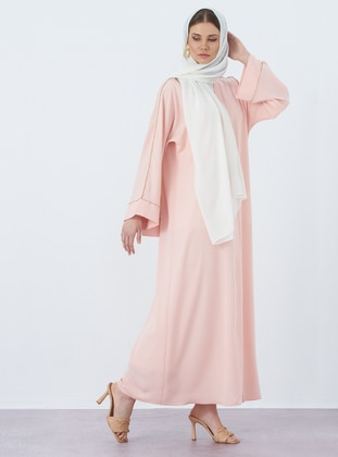 Salmon - Unlined - V neck Collar - Crepe - Abaya