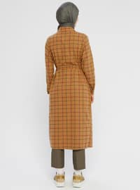 Mustard - Plaid - Unlined - Point Collar - Topcoat