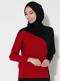 Red - Black - Unlined - Polo neck - Acrylic -  - Knit Sweaters