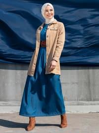 Indigo - Crew neck - Unlined - Denim - Cotton -  - Dress