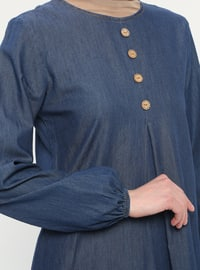Navy Blue - Crew neck - Unlined - Denim - Cotton -  - Dress