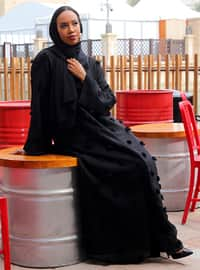 Black - Fully Lined - V neck Collar - Abaya