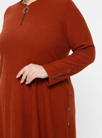 Tan - Crew neck - Unlined - Plus Size Suit