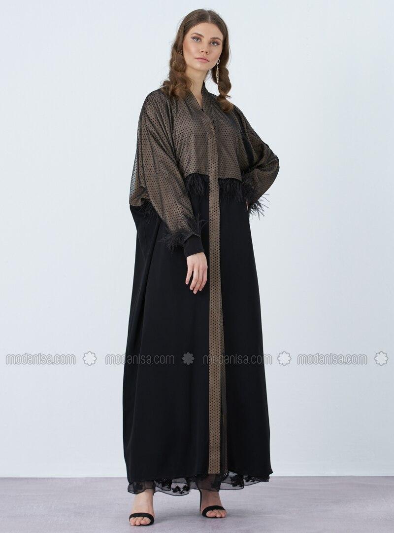 Black - Unlined - V neck Collar - Muslim Plus Size Evening Dress