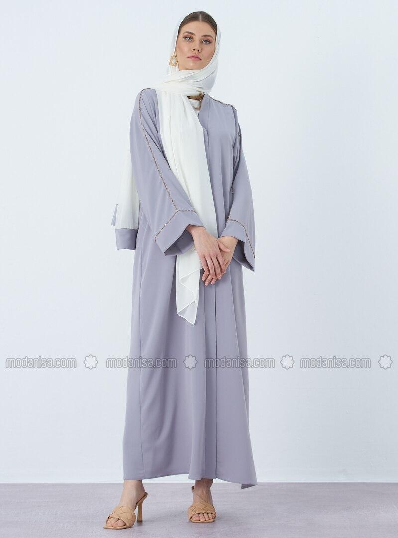 Blue - Unlined - V neck Collar - Crepe - Abaya