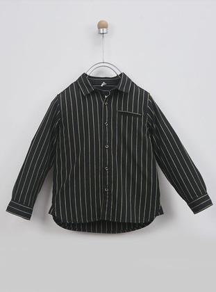 Stripe - Multi - Point Collar - - Black - Boys` Shirt