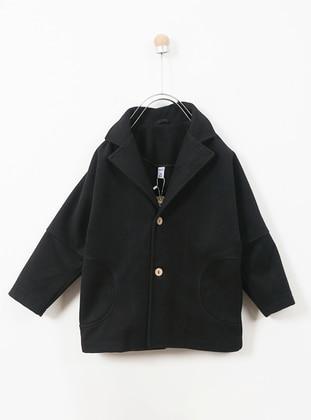 Shawl Collar - Acrylic - Cotton - Viscose - Wool Blend - Black - Boys` Coat