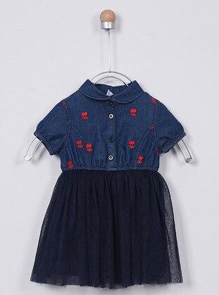 Round Collar - - Navy Blue - Baby Dress