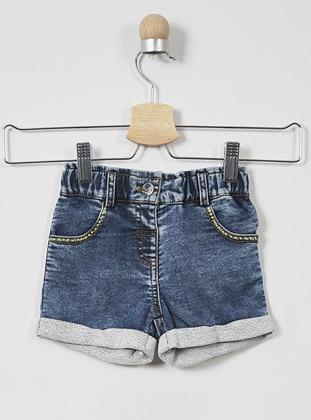 Denim - Cotton - - Unlined - Navy Blue - Baby Shorts