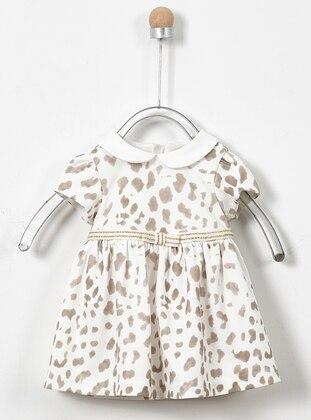 Leopard - Round Collar - Ecru - Baby Dress