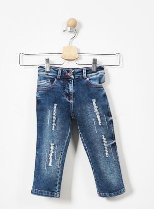 Denim - Cotton - Unlined - Navy Blue - Girls` Pants