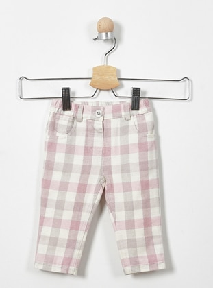 Checkered - Cotton - Unlined - Pink - Baby Pants - Panço