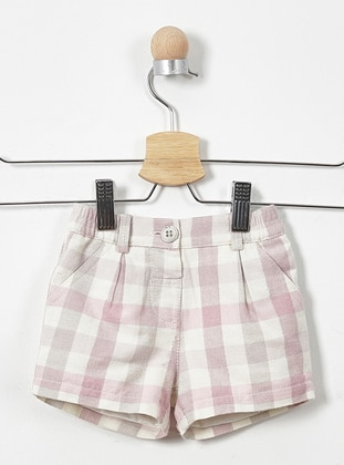 Plaid - Cotton - Unlined - Pink - Baby Shorts