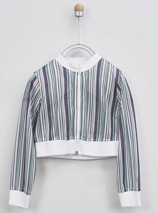 Stripe - Crew neck - White - Multi - Girls` Sweatshirt