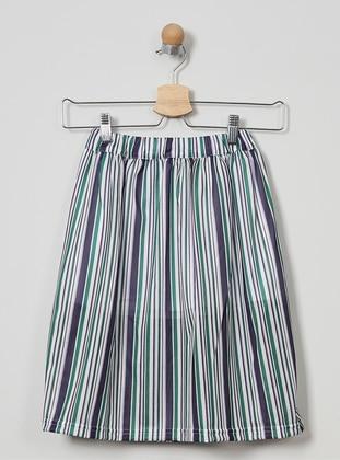 Stripe - Unlined - White - Girls` Skirt