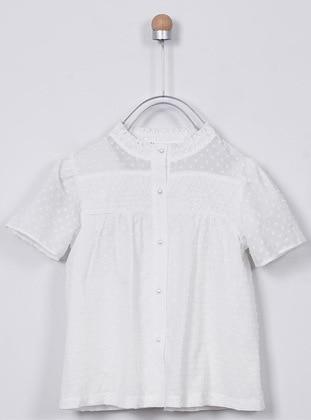 Crew neck - - Unlined - Ecru - Girls` Shirt