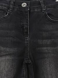 Denim - Cotton - Unlined - Black - Girls` Pants