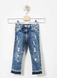 Cotton - Viscose - Unlined - Navy Blue - Girls` Pants