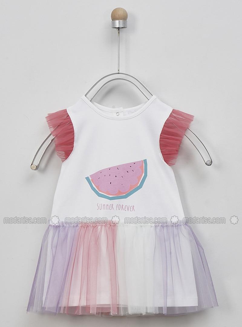 Crew neck - - White - Multi - Baby Dress