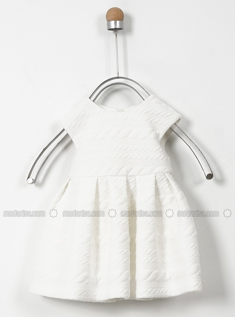 Crew neck - Cotton - Unlined - Ecru - Baby Dress