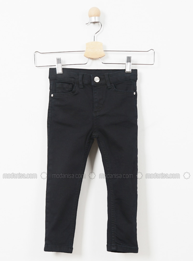 Cotton - Viscose - Unlined - Black - Girls` Pants