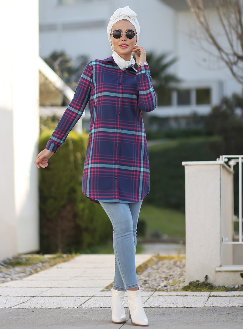 Tesettür Bluz Gömlek Por La Cara Lacivert Kadın 42