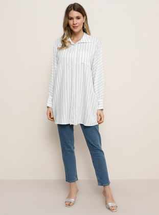White - Ecru - Blue - Stripe - Point Collar - Plus Size Tunic