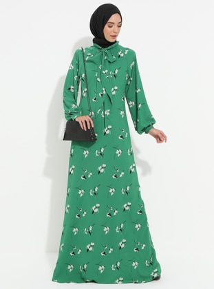 Green - Floral - Fully Lined - Dress