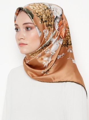 Brown - Floral - Printed - Rayon - Scarf