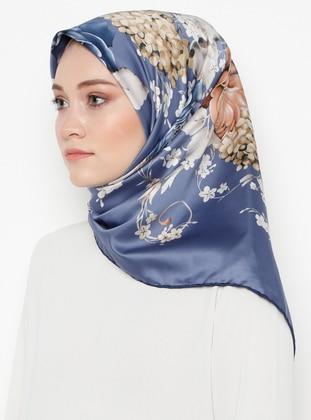 Indigo - Floral - Printed - Rayon - Scarf