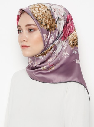 Lilac - Floral - Printed - Rayon - Scarf