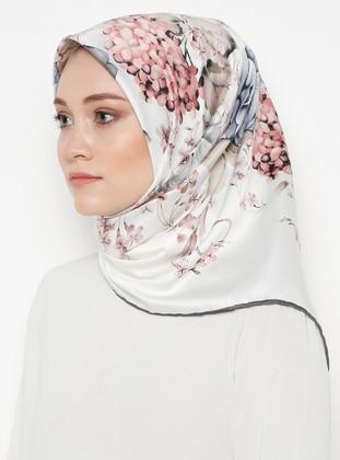 Silver tone - Cream - Floral - Printed - Rayon - Scarf - Gülsoy