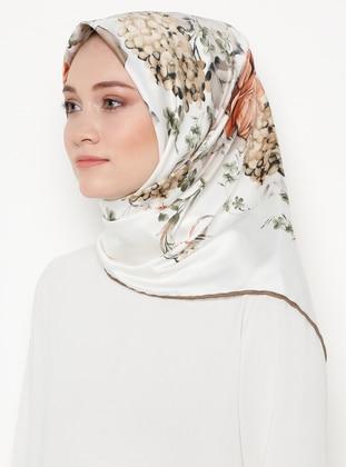 Cream - Mink - Floral - Printed - Rayon - Scarf