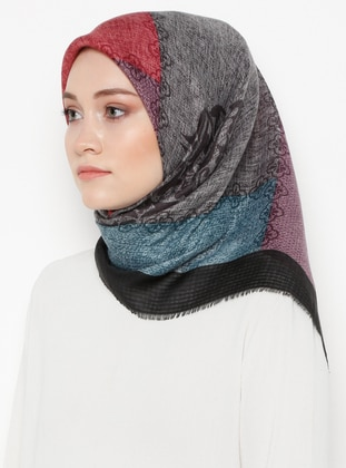 Lilac - Black - Printed - Viscose - Scarf