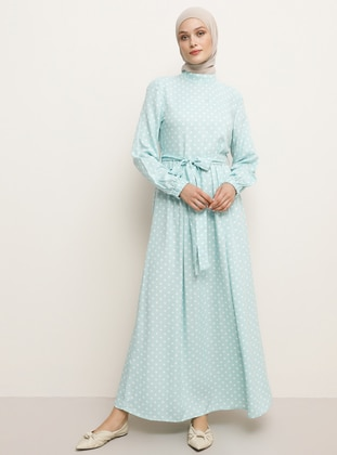 Mint - Polka Dot - Crew neck - Unlined - Viscose - Dress