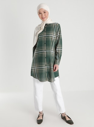 Green - Checkered - Point Collar - Acrylic - - Blouses