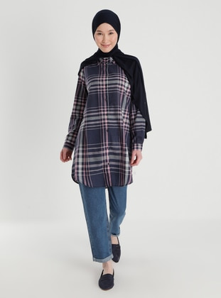 Navy Blue - Checkered - Point Collar - Acrylic - - Blouses
