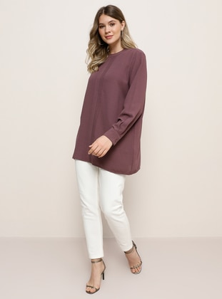 Purple - Crew neck - Plus Size Tunic