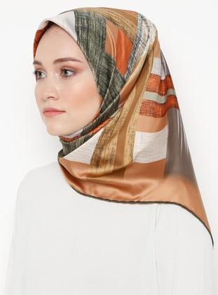 Brown - Printed - Rayon - Scarf - Gülsoy