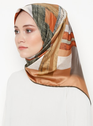 Brown - Printed - Rayon - Scarf
