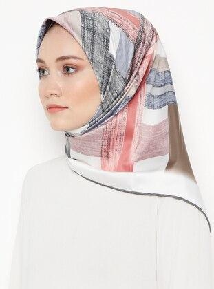 Silver tone - Cream - Printed - Rayon - Scarf