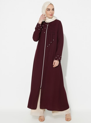 Plum - Unlined - Crew neck - Abaya