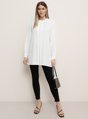 Ecru - Crew neck - Plus Size Tunic