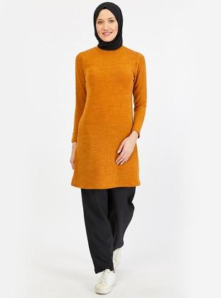 Mustard - Checkered - Point Collar -  - Tunic
