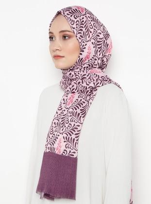 Purple - Pink - Printed - Silk Blend - Shawl