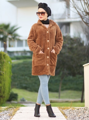 Brown - Unlined - Acrylic -  - Puffer Jackets - Por La Cara