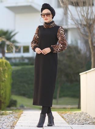 Black - Leopard - Crew neck - Unlined - Acrylic -  - Dress