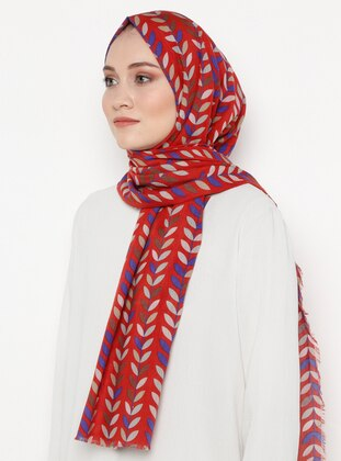 Maroon - Printed - Silk Blend - Shawl