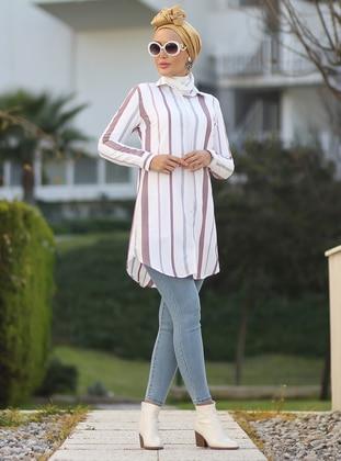 White - Maroon - Stripe - Point Collar - Acrylic -  - Blouses